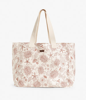 Red turtle and shell printed beach bag