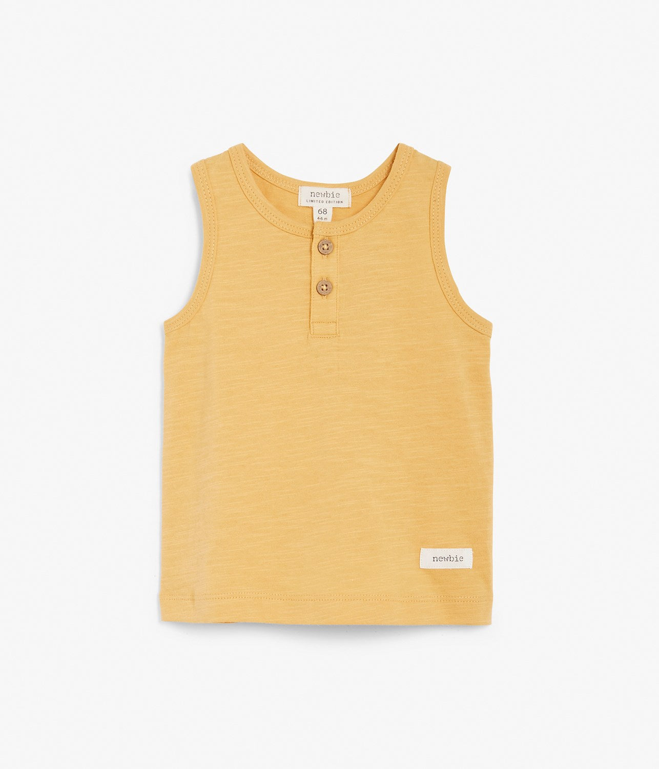 Baby yellow tank top with wooden buttons