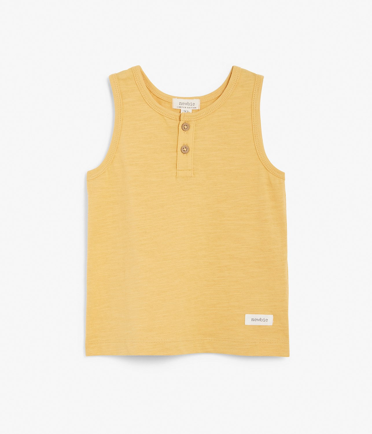 Kids yellow tank top with wooden buttons