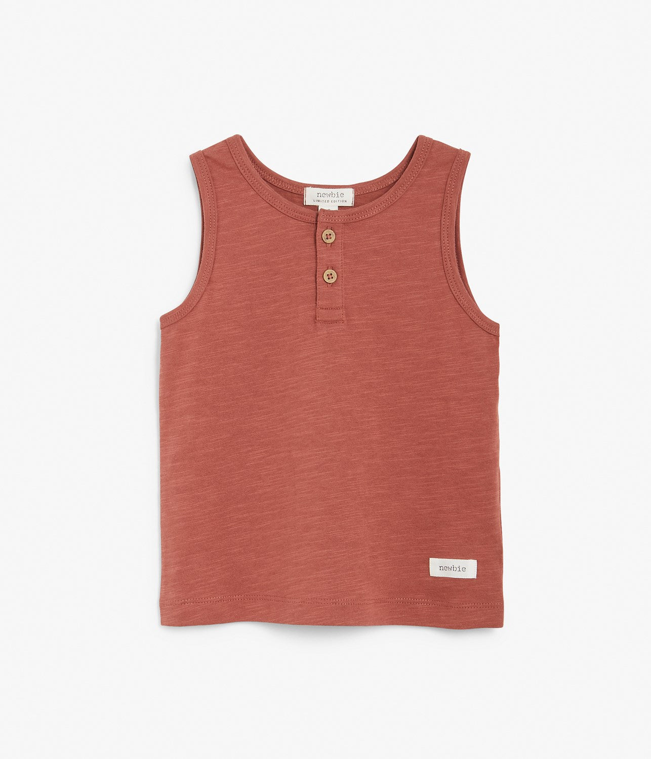 Kids red tank top with wooden buttons
