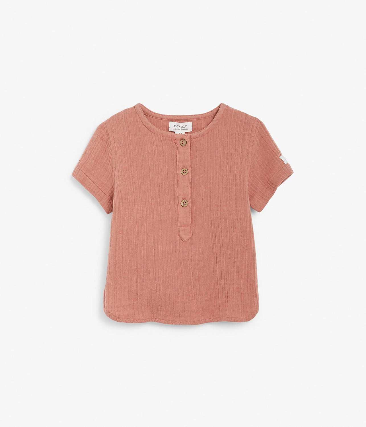 Baby red crinkled texture shirt
