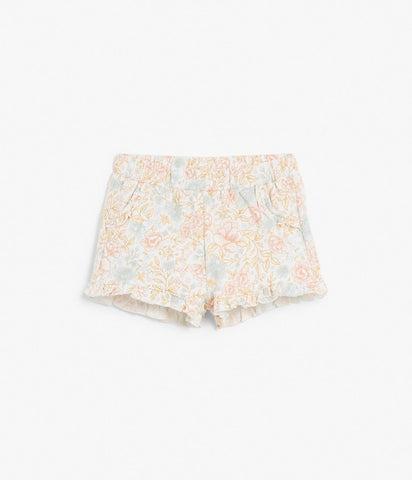 baby floral print shorts with ruffles