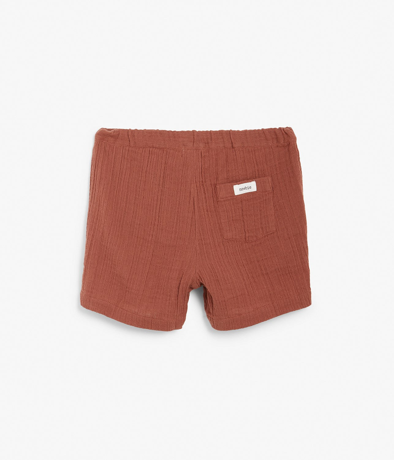 Kids red crinkled texture shorts