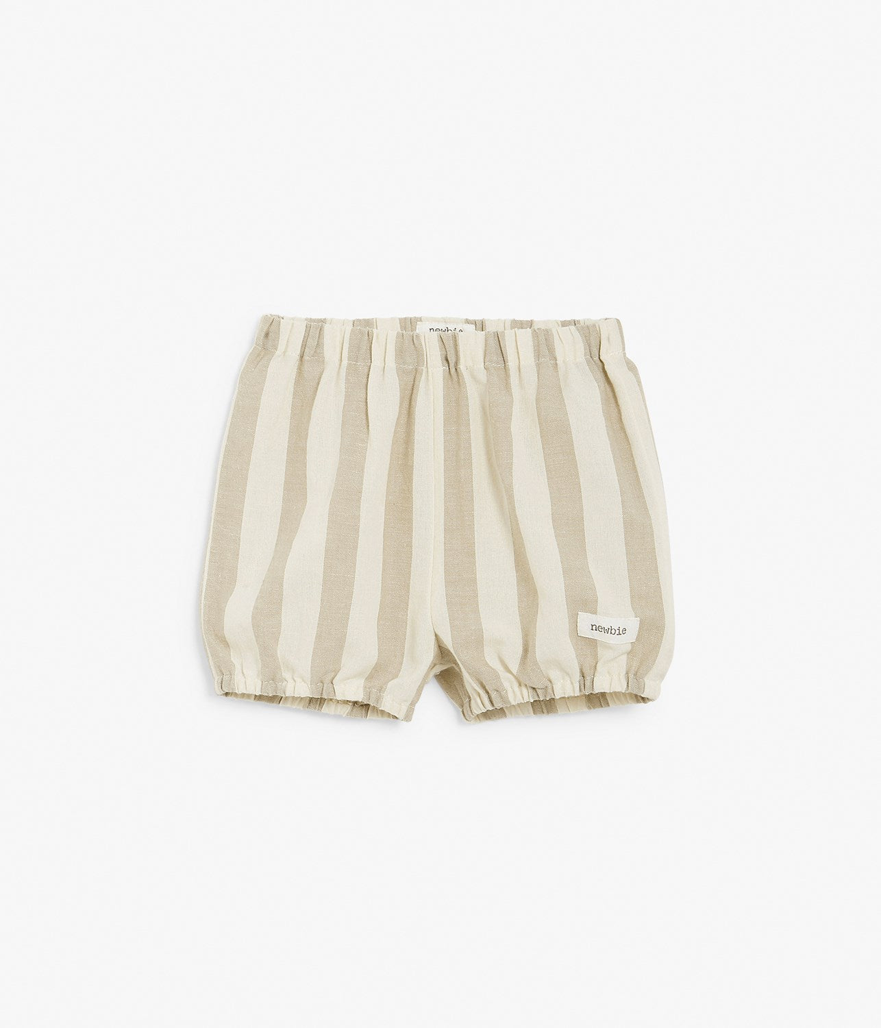 Baby linen blend striped shorts