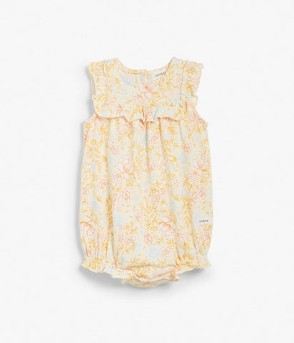 Baby floral print onesie with ruffles