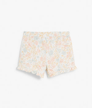 Kids floral print shorts with ruffles