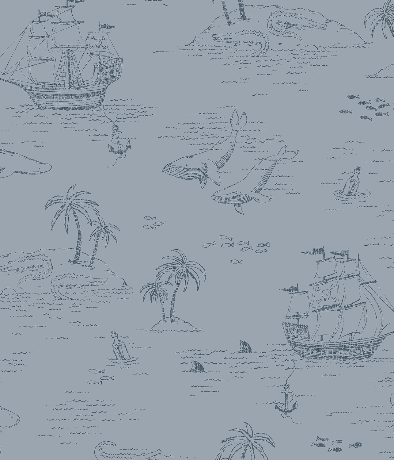 Treasure Island blue wallpaper