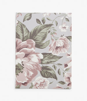 Rosie lilac floral wallpaper sample