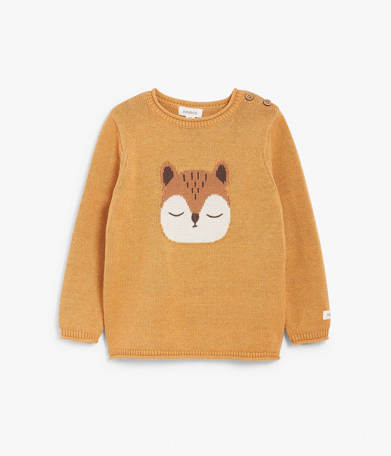 Kids yellow knitted sweater with animal motif