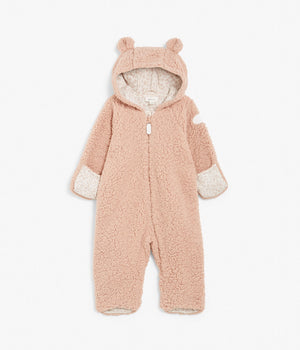 Baby pink teddy onesie with hood