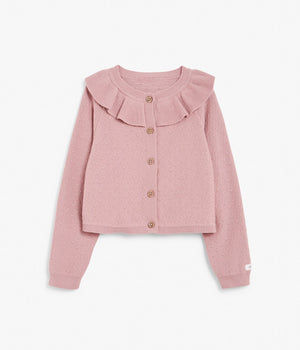 Kids pink textured cardigan with frill