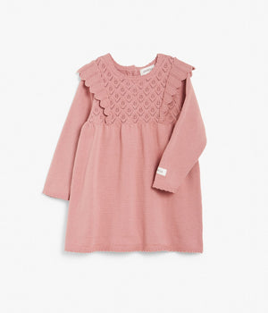 Baby pink knitted dress with frills