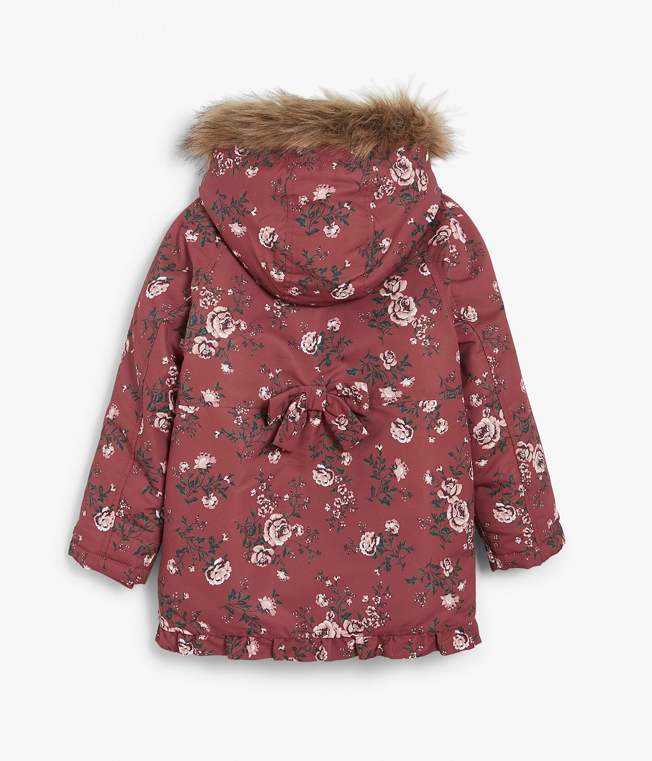 Kids rose floral print rain jacket with hood