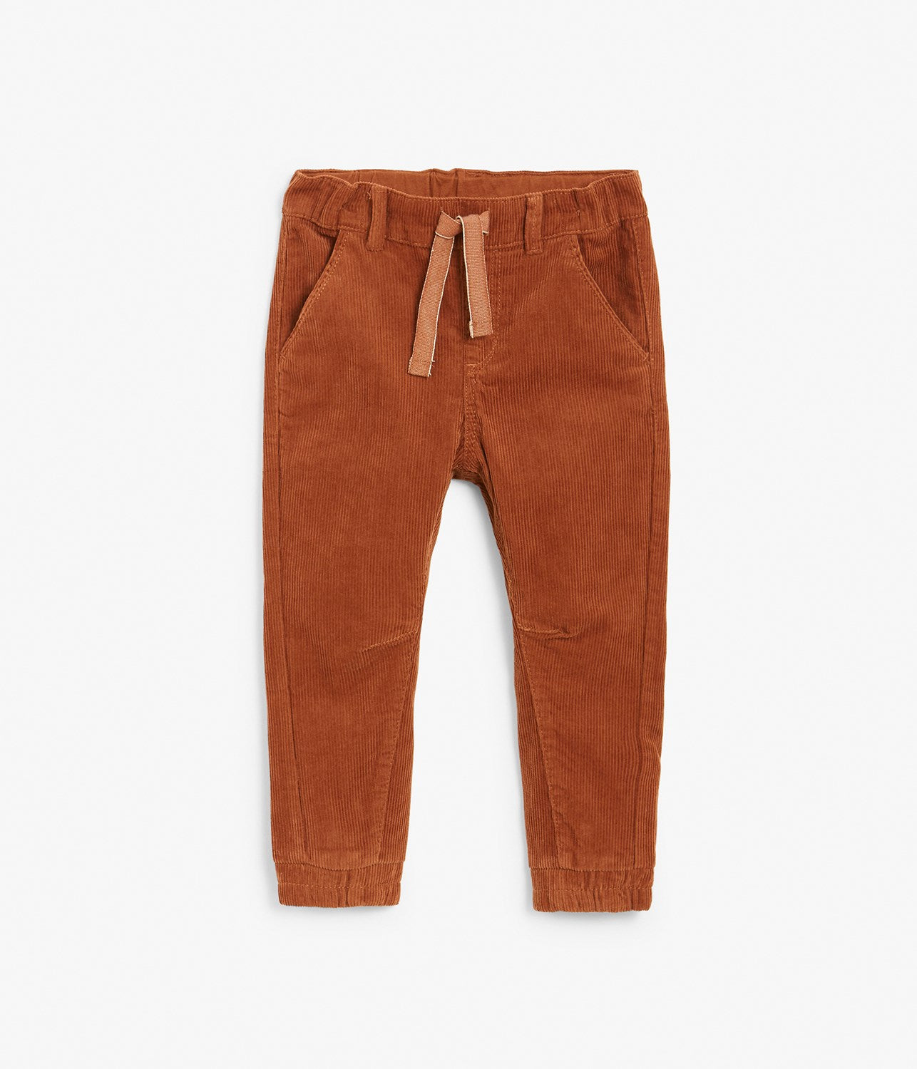 Kids brown drawstring corduroy trousers
