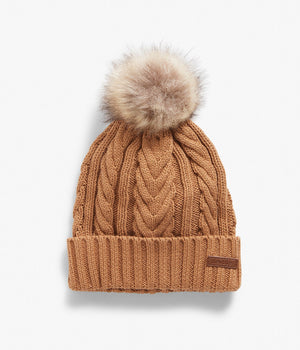 Brown cable knit beanie with pom pom
