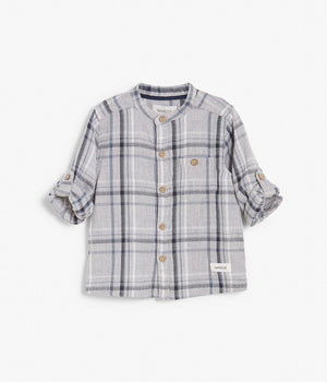 Baby grey & navy checkered button up shirt