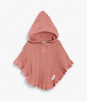 Kids pink knitted poncho