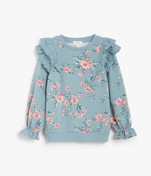 Kids pink & blue floral print sweatshirt with lace frills