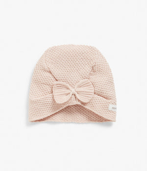Pink knitted beanie with bow