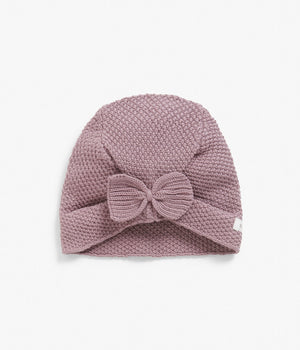 Purple knitted beanie with bow