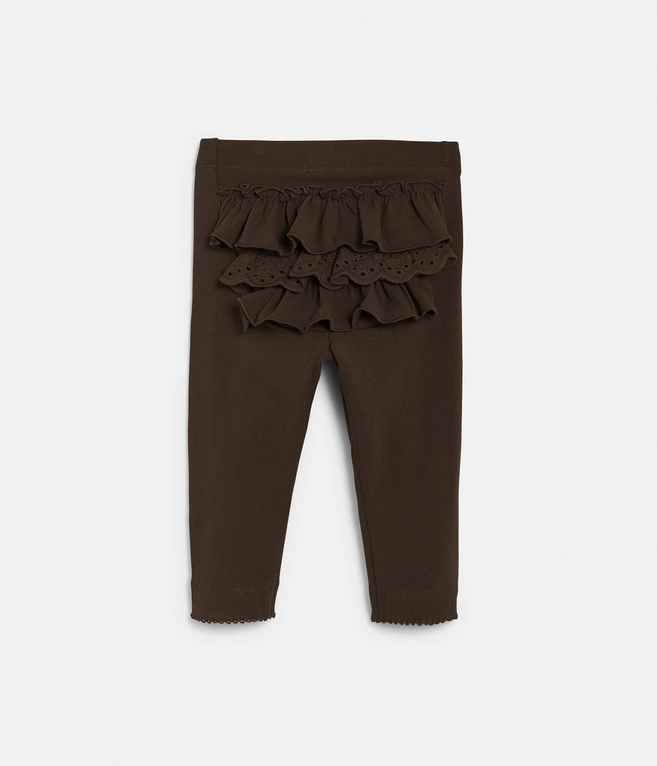Baby brown leggings with ruffles in back