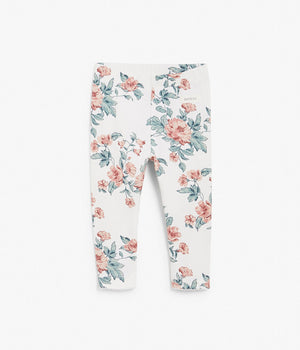 Baby floral print leggings with lace ruffles