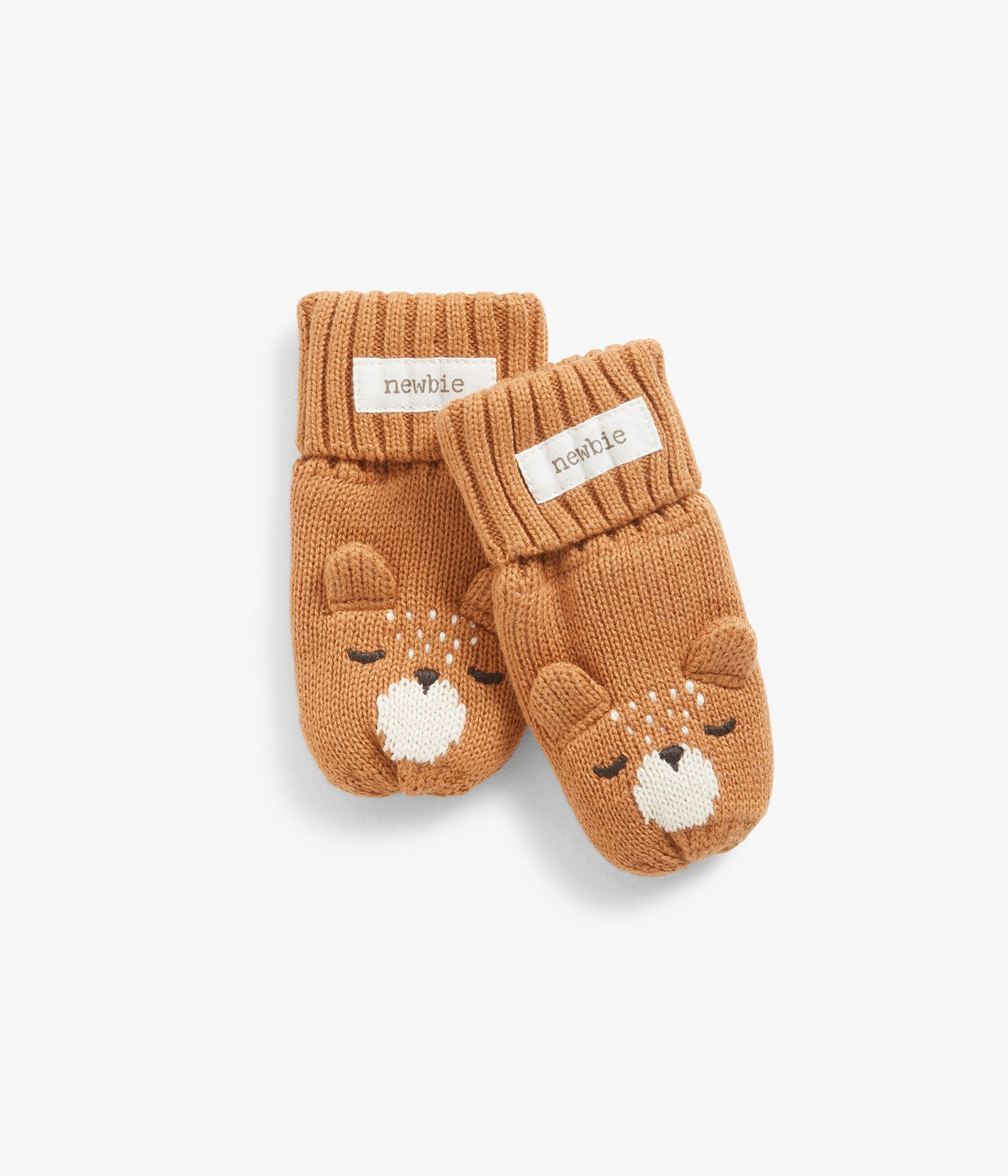 Baby knitted mittens with bear animal face and ears motif