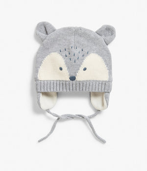 Baby grey knitted hat with animal face and ears