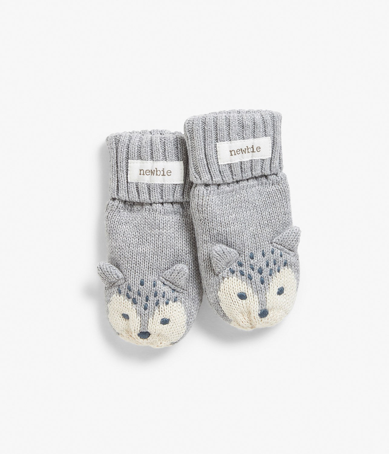 Baby knitted mittens with wolf animal motif