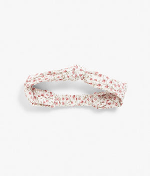 Pink floral print headband with knot