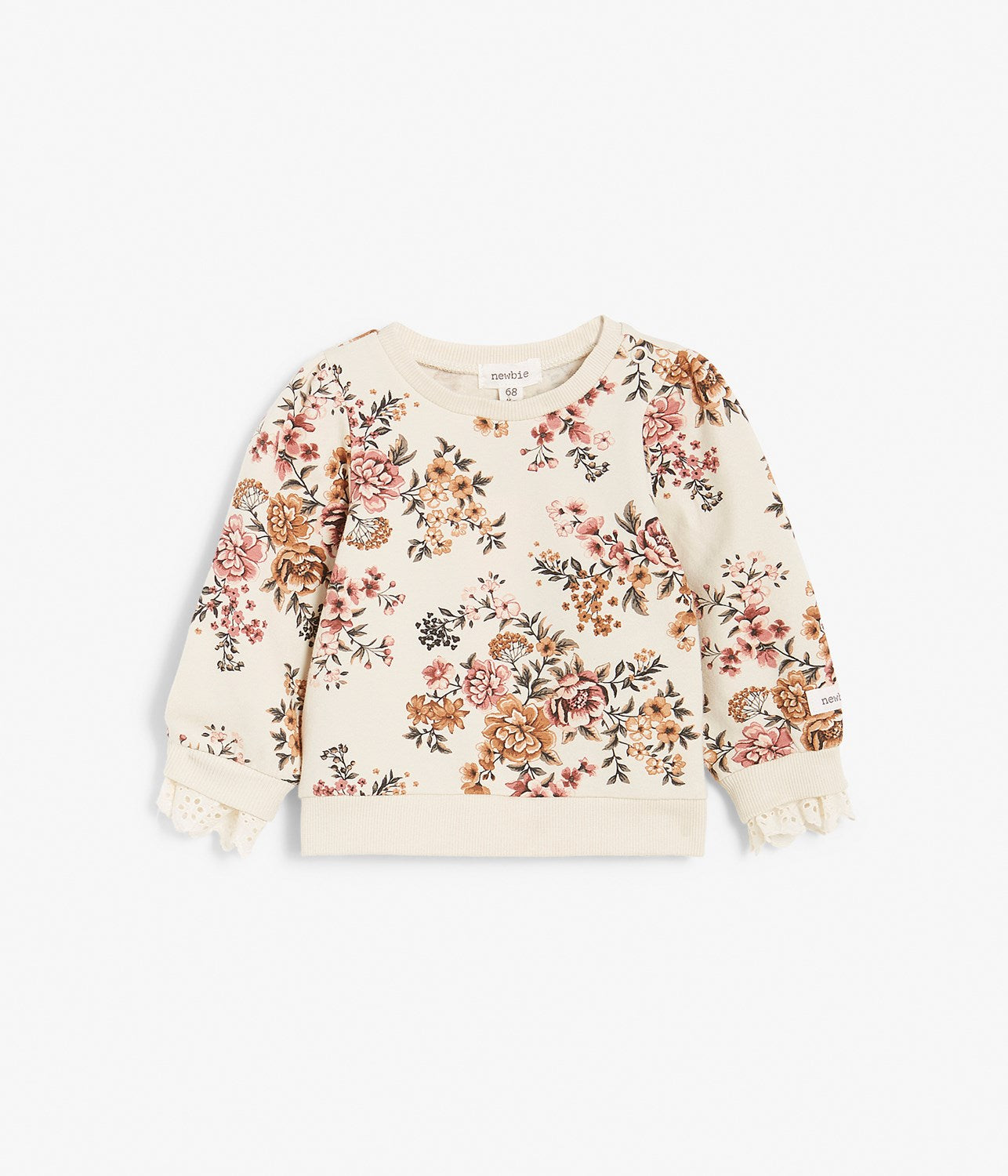 Baby beige floral print jumper with lace