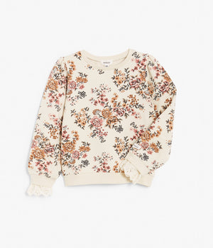 Kids beige floral print jumper with lace