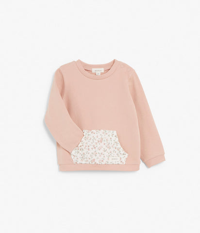 Baby sweatshirt with floral print pocket
