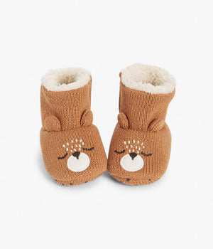 Baby booties with bear face and ears