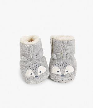 Baby grey embroidered animal booties