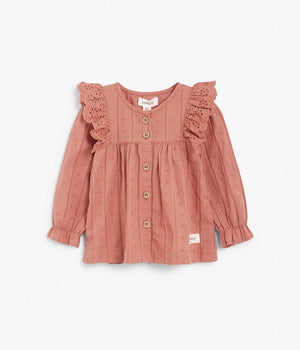 Baby rose button up blouse with lace ruffles