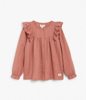 Kids rose textured blouse with ruffles