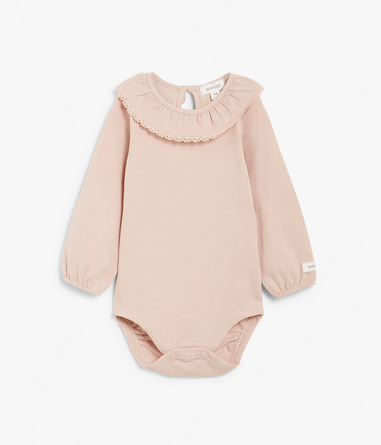 Baby soft pink body with lace collar