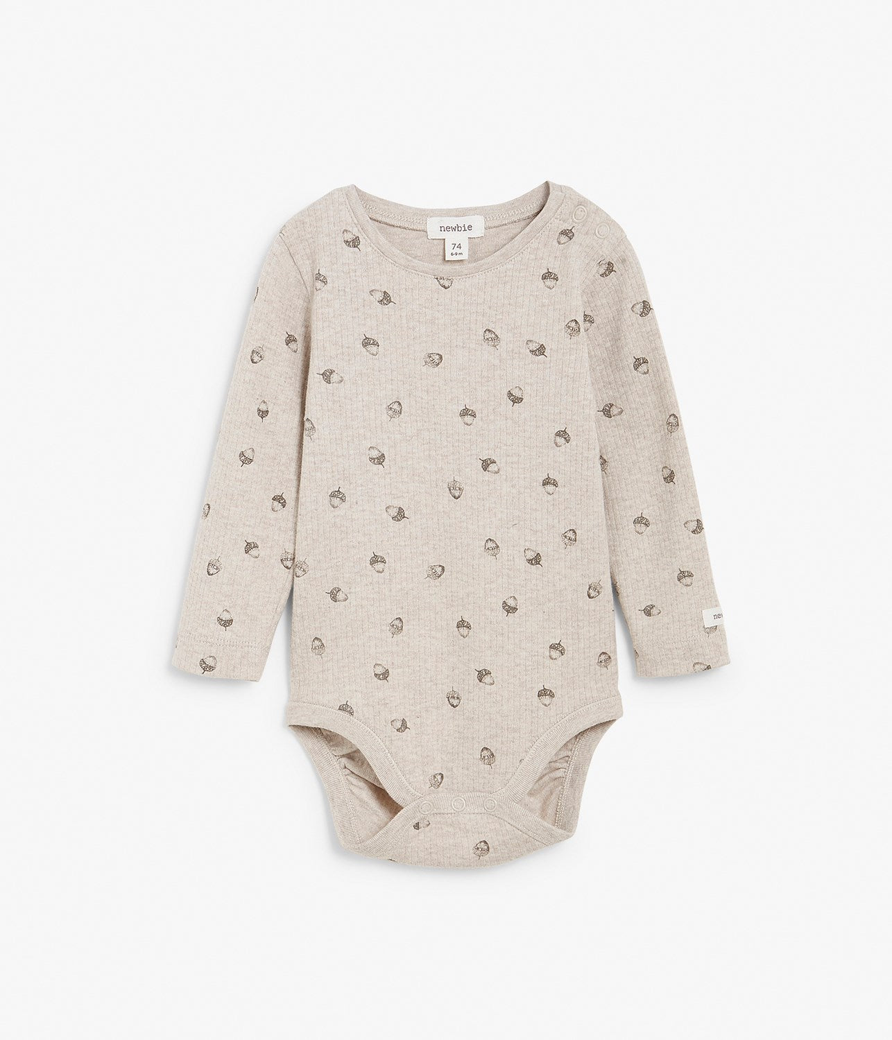 Baby beige ribbed forest print body