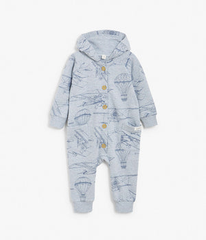 Baby blue air balloon print jumpsuit