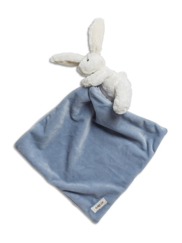 newbie baby Blanket with attached soft toy bunny blue