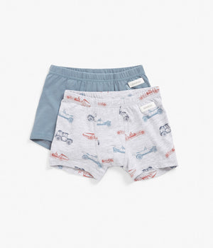 Kids blue & grey car print underwear 2-pack