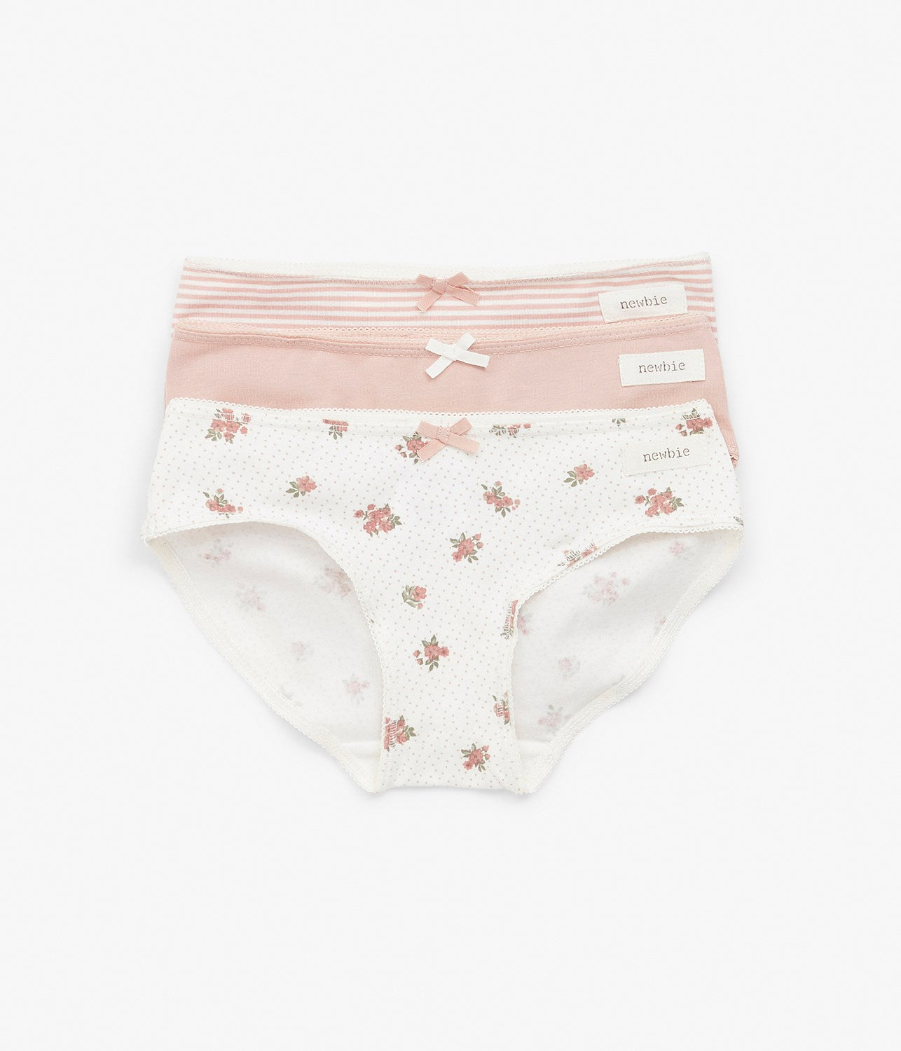 Kids pink & white printed underwear 3-pack