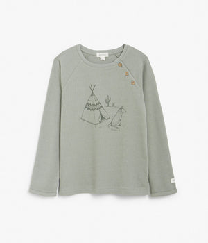 Kids khaki top with tipi tent motif