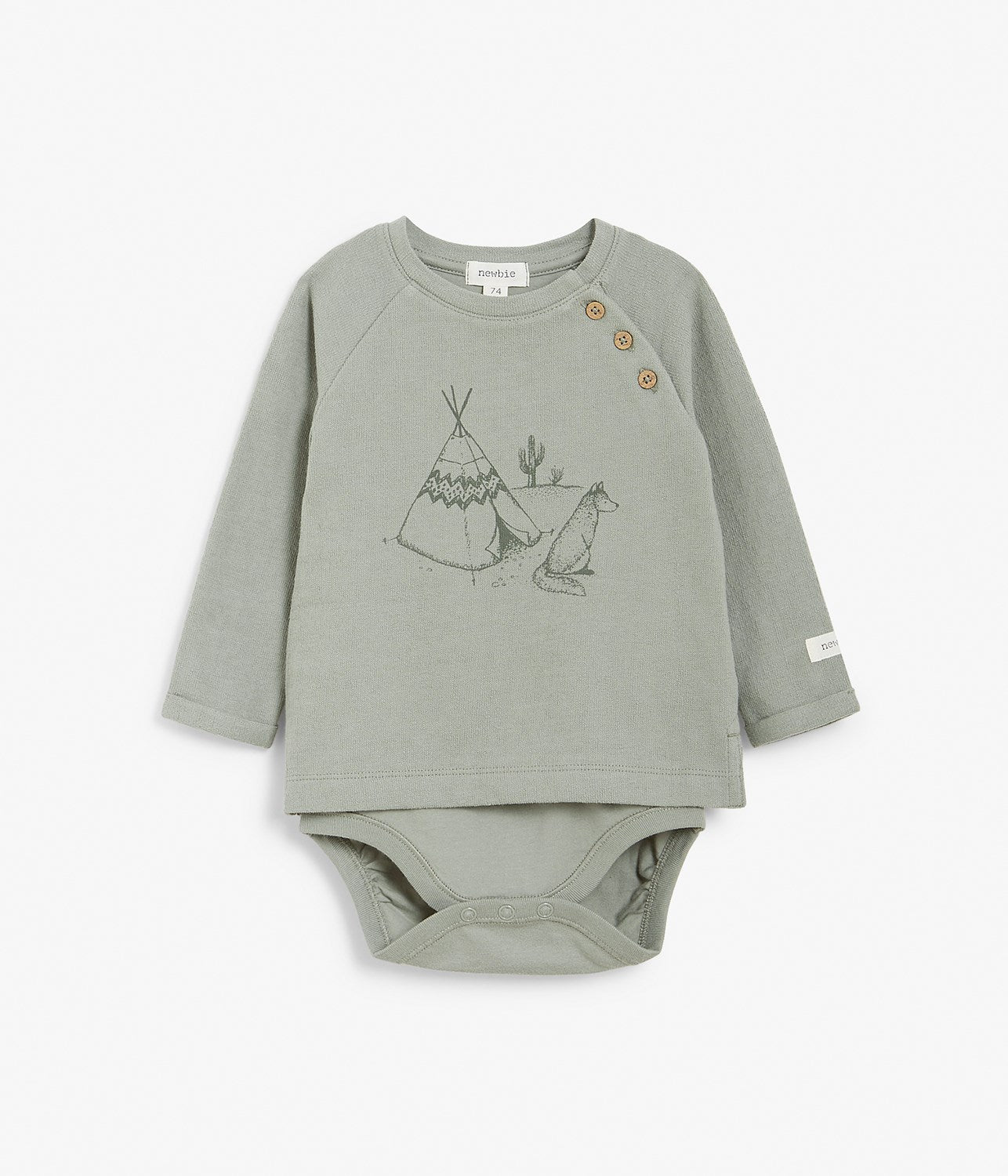 Baby khaki body with tipi tent print