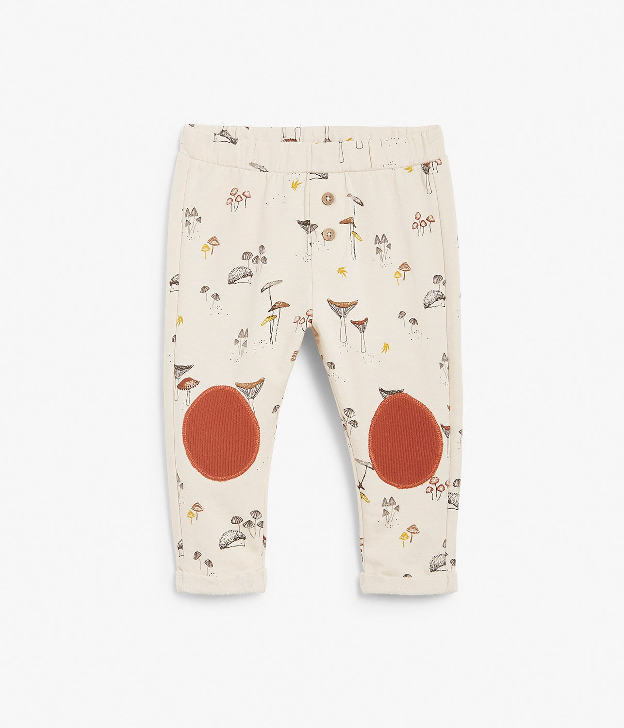 Baby forest print leggings with ribbed knee patches