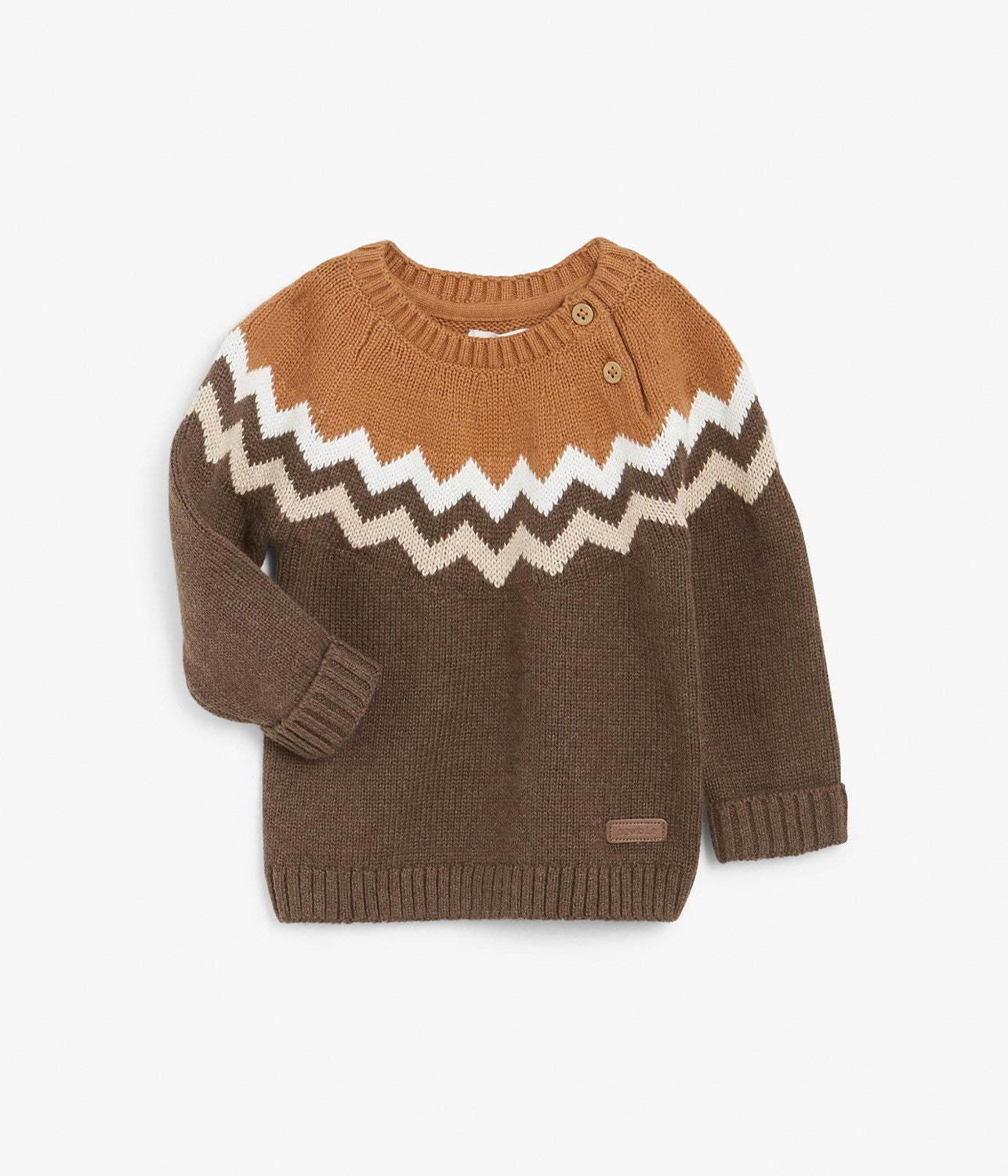 Baby brown knitted chevron print jumper