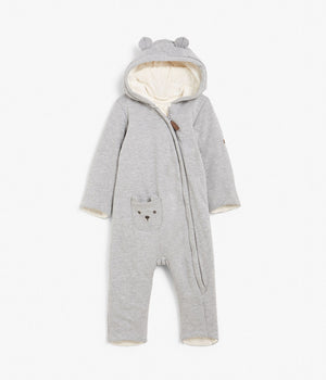 Baby grey jersey onesie with bear ears