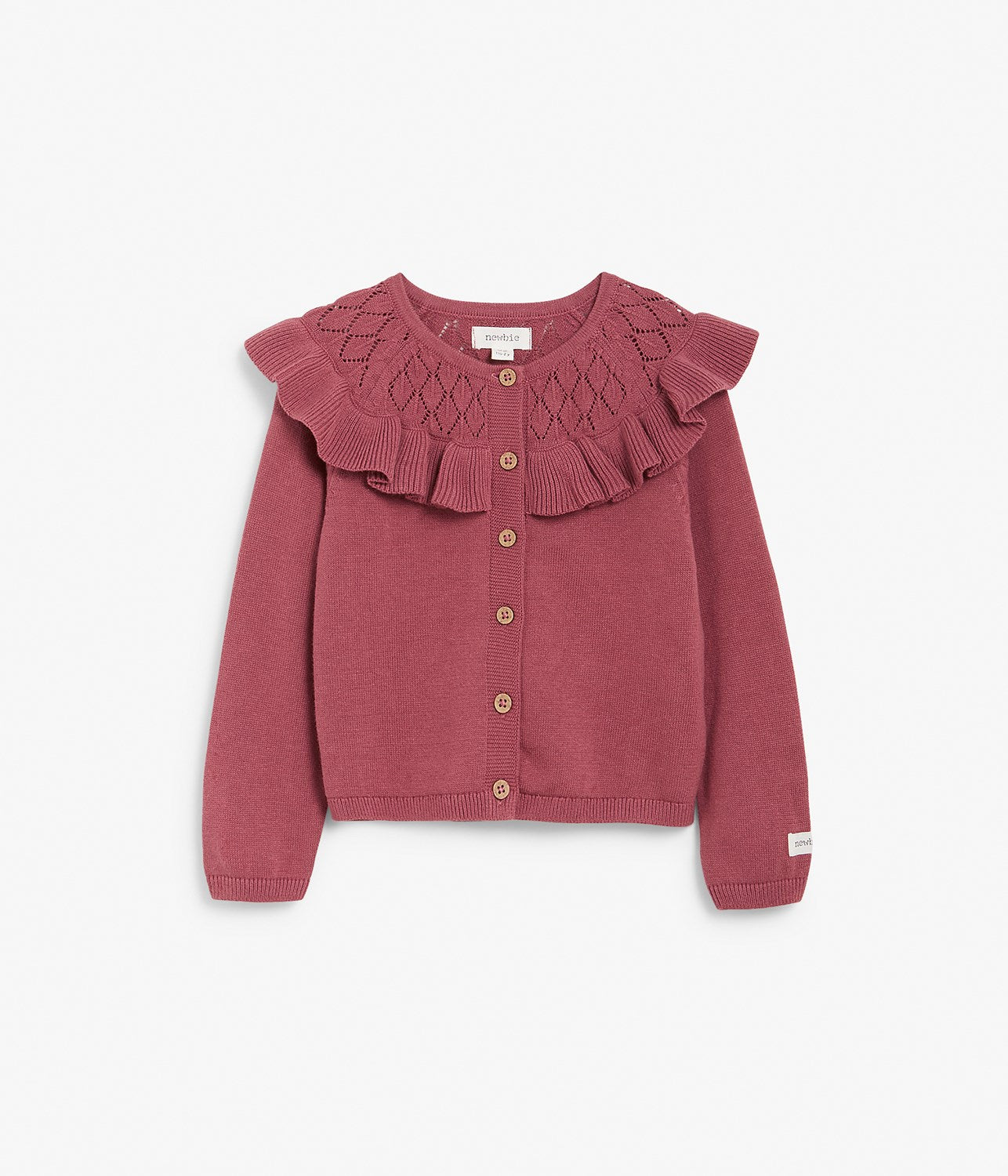 Kids pink knitted cardigan with frills