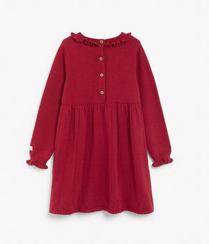 Kids red knitted dress with frills